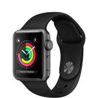 """Apple Watch Series 3 38 мм корпус из алюминия цвета """"серый космос"""", спортивный ремешок черного цвета"""
