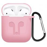 Силиконовый чехол для AirPods с карабином (розовый)