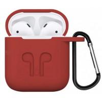 Силиконовый чехол для AirPods с карабином (красный)