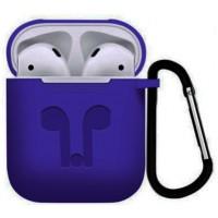 Силиконовый чехол для AirPods с карабином (фиолетовый)