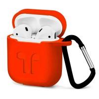 Силиконовый чехол для AirPods с карабином (оранжевый)