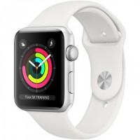 Apple Watch Series 3 (MTF22) 42 мм, корпус из серебристого алюминия, спортивный ремешок белого цвета