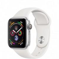 Apple Watch Series 4, 40 мм, корпус из алюминия серебристого цвета, спортивный ремешок белого цвета