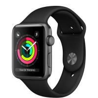 """Apple Watch Series 3 (MQL12) 42 мм, корпус из алюминия цвета """"серый космос"""", спортивный ремешок чёрного цвета"""