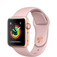 """Apple Watch Series 3 (MQL22) 38 мм, корпус из золотистого алюминия, спортивный ремешок цвета """"розовый песок"""""""